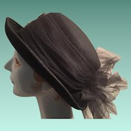 Ladies Black Felt Dressage-style Hat with a large Net Bow