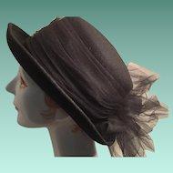 Ladies Black Felt Dressage-style Hat with a large Net Bow