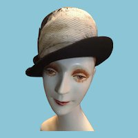 1950s Lilly Dache DEBS of Paris and New York Black Felt Modified Fedora