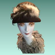 Circa 1940s Italian Designer Brown Felt Cloche Hat