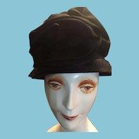 Circa 1960s Milliner-Made Flower Embellished Black Cloche Hat