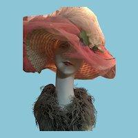 Circa 1960s Artist Embellished Funky Floppy Pink Straw Hat.