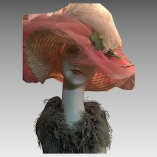 Circa 1960s Artist Embellished Funky Floppy Pink Straw Hat.