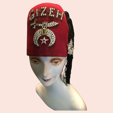1955 Gizeh Fez Hat with Double Rhinestone Sword and Maple Leaf Tassel Pin