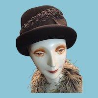 Circa 1960s Lady's Black Felt Rolled-Rim Bowler Hat