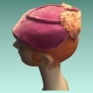 1940s  'Designed by Julia, Ottawa' Flat Mauve Velvet Lady's Hat