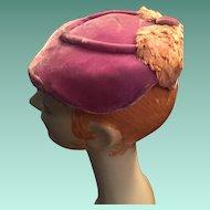 1940s  'Designed by Julia, Ottawa' Flat Mauve Velvet Lady's Hat