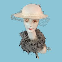 Wide-Brimmed White Hat by 'Bermona Trend, London'