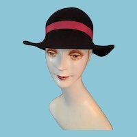 Circa 1960s Lady's Wide-Brimmed Black Felt Hat