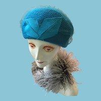 1940s-50s Lady's Turquoise Felt Cloche/Beret Cross Hat