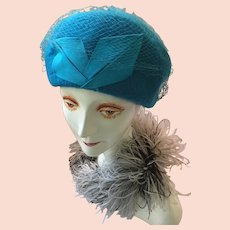 1940s-50s Lady's Turquoise Felt Cloche/Beret Cross Hat