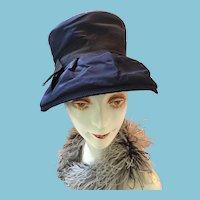 1960s Lady's Navy Blue Wide-brimmed Rain Hat