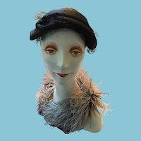 1940s - 50s Lady's Charm Cap-Style Black Straw Hat