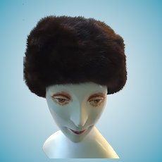 1940s - 50s Lady's Pillbox Mink Hat by Simpsons