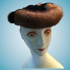 1940s - 50s Lady's Mink-Trimmed Black Velvet Chapeau