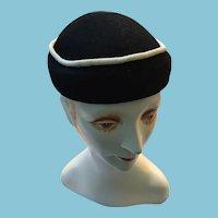 1960s Lady's Merrimac Black Wool Cap