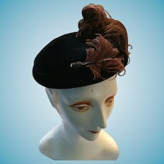 Spencer Select, Toronto 1940s -50s Lady's Black Felt Cap