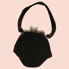 circa 1930s - 40s Coronet Corde Black Cocktail Bag