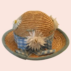 Circa 1980s Child's Straw Bowler Hat with Daisies and Ribbon