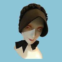 Stitched Cotton Ladies Amish Black Bonnet