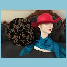 Vintage Strawberry Red Straw Hat in a Hat Box