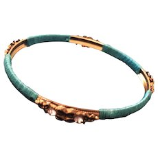 Circa 1960s -70s Turquoise Silk Thread Embelished Metal Bangle