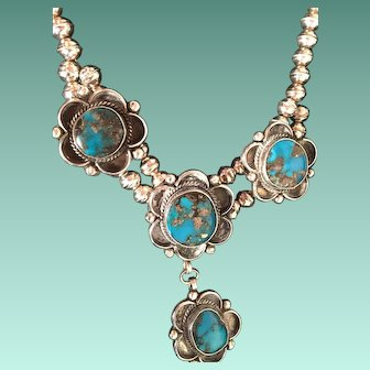 Stunning Vintage Navajo Turquoise and Silver Necklace