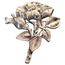 Lovely Marked Silver Poppy Ladies Lapel Pin