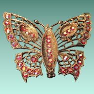 Butterfly Brooch Embellished with Brilliant Pink Rhinestones