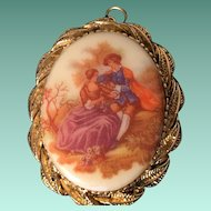 Vintage Porcelain Pendant of a Victorian Courting Couple