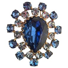 Vintage Blue Crystal Goldtone Pin with Stunning Blue Center Stone