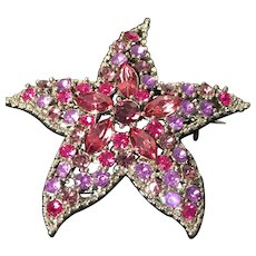 Romantic Starfish Brooch with a Marcasite Look around Sparkling Rose Rhinestones