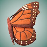 Delicate Hand-made Tooled Leather Monarch Butterfly Brooch