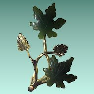 Polished Canadian Jade Maple Leaf Brooch