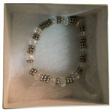 Moonlight Crystal and Beaded Metal Beaded Bracelet