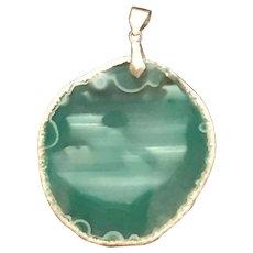 Mystic Amazonite Teal Blue Geode Slice Pendant