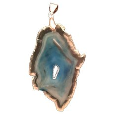 Mystic Turquoise Agate Polished Geode Slice Pendant