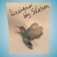 Ruby-throat Hummingbird Pin Designed by Sharon Allen