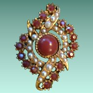 Stunning Red Jasper and Natural Pearl Estate Brooch