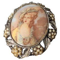 Amazing Porcelain Victorian Lady Pin Embellished with Cab Seed Pearls