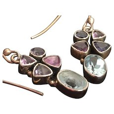 Pair of Gorgeous Gemstone Earrings Set in 925 Silver Bezel Settings
