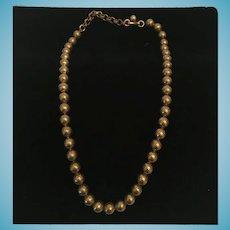 Retro Copper-toned  Beaded Brass ball Choker Necklace