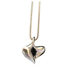 Modernist Puffy Heart Pendant and Fine Silver Rope Chain