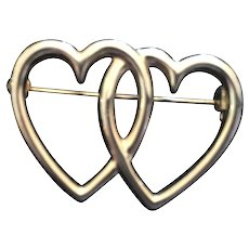 Circa 1960s Entwined Double Heart Sweetheart Pin