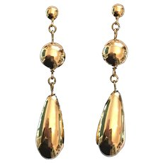 Circa 1980s Gold-Colored Metal Pierced Tear Drop Earrings