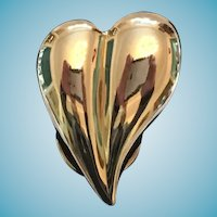 Circa 1980s Goldtoned Metal Puffy Heart-Shaped Scarf Clip