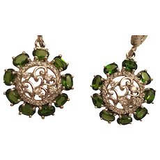 Forest Green Russian Diopside 14 Kp Sterling Silver Earrings