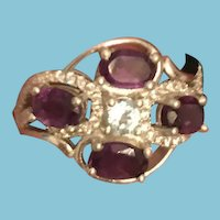 Purple Amethyst and Blue Topaz 14 KP White Gold High Quality Ring Marked 925