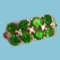 High-Quality Emerald Green Chrome Diopside Sterling Silver Ring