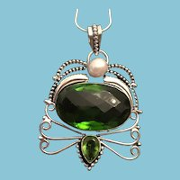 Green Quartz, Peridot, and Pearl Sterling Silver Pendant and Chain